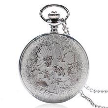 Retro Elegant Cute Mermaid Charm Silver Quartz Pocket Watch Women Pendant With Sweater Necklace Chain