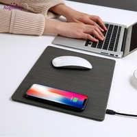 2018 Handy Qi Wireless-ladegerät Lade Maus Pad Matte PU Leder Mousepad für iPhone X/8 Plus Samsung s8 Plus/Hinweis 8