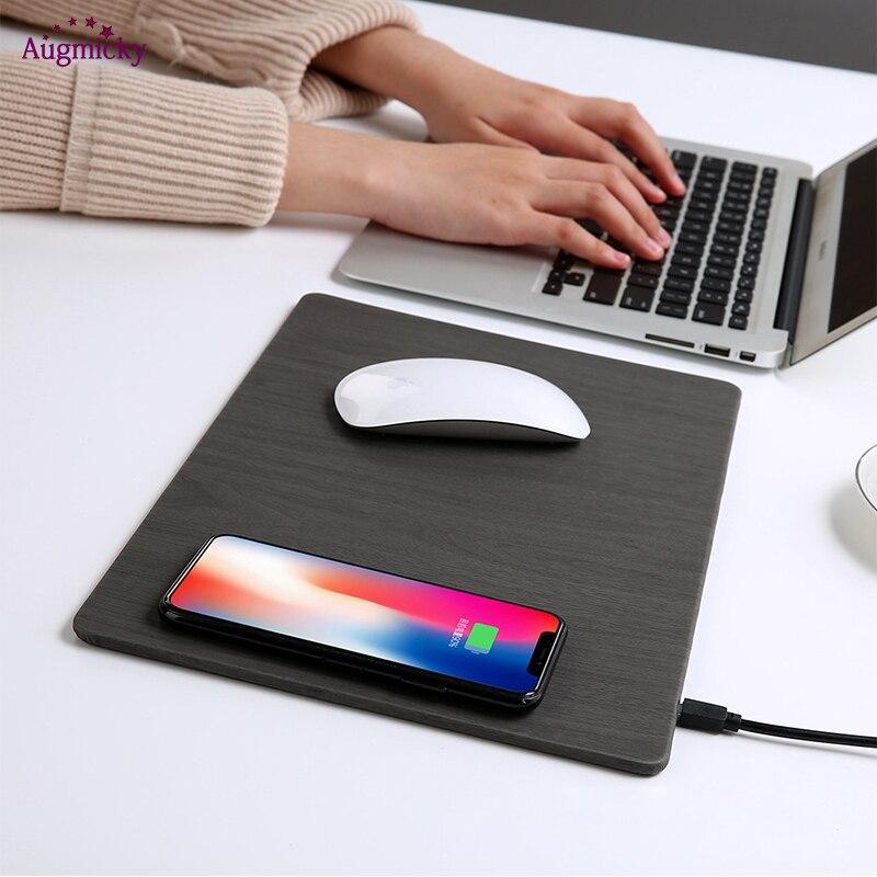 2018 Qi Carregador de Carregamento Sem Fio Do Telefone Móvel Do Mouse Pad Mat Mousepad do Couro do PLUTÔNIO para o iphone X/8 Plus Samsung s8 Plus/Nota 8