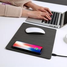 2018 โทรศัพท์มือถือ Qi Wireless Charger ชาร์จแผ่นรองเม้าส์ PU หนัง Mousepad สำหรับ iPhone X/8/PLUS Samsung s8 PLUS/หมายเหตุ 8