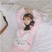 JULYS เพลงฤดูใบไม้ร่วงฤดูหนาวชุดนอนชุดนอนชุดสตรี Flannel สีชมพูกระต่ายการ์ตูนหนาผู้หญิงชุดนอนสัตว์น่ารัก Homewear