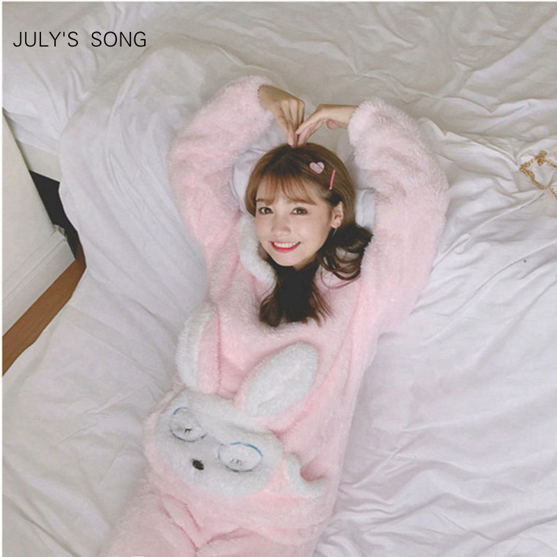 JULY'S SONG Autumn Winter Pajamas Women Pajama Sets Flannel Pink Rabit Cartoon Thick Warm Women Sleepwear Cute Animal Homewear