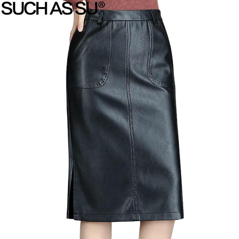 33eac1419ed SUCH AS SU осень зима новый Высокая талия юбка из искусственной кожи женская  одежда 2017 черный
