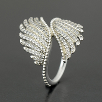925 Sterling Silver Majestic Feathers with Clear CZ Ring Compatible with European Famous Brand Jewelry