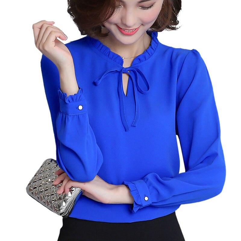 2XL Plus Size Women Spring Autumn Tops Blue White   Blouse   Fashion Elegant Chiffon   Shirt   Female Long Sleeve   Blouses     Shirts   Blusas