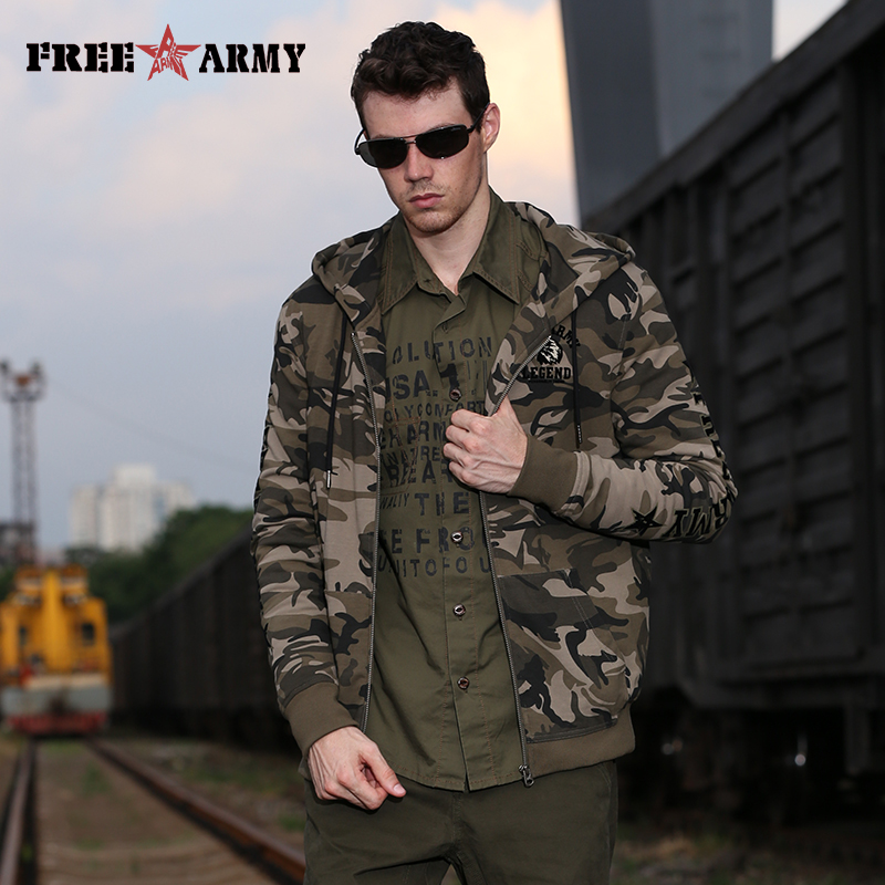 Free Army Camo Jackets Men Outerwear Clothes 2018 High Quality Casual Coat Hooded Camouflage Army Green Military Jacket For Men
