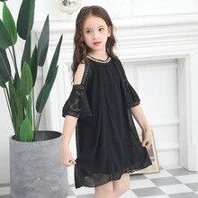 Fashion Chidlren Summer Strapless Dress Childrens Princess Dresses Teen Girl Flare Sleeve Vestidos 6 7 8 9 10 12 13 14 15Y Kids