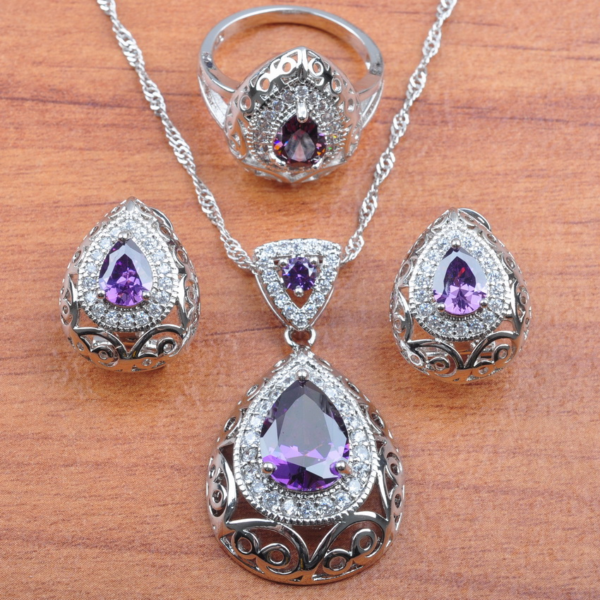 2019 New Natural Purple Crystal 925 Sterling Silver Dubai Jewelry Set For Women Wedding Jewelry Best Gift JS210