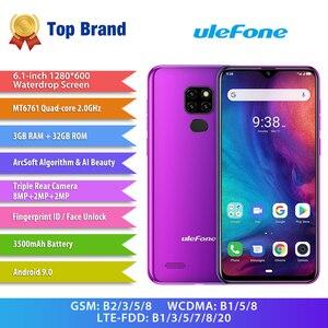 Image 2 - Ulefone Note 7P Smartphone Android 9.0 czterordzeniowy 3500mAh 6.1 calowy ekran Waterdrop 3GB + telefon komórkowy 32GB odblokowanie twarzą