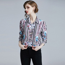 PADEGAO Spring Clothes For Women 2019 New Shirt Female Turn-Down Collar Collapel Collision Splice Flower Long Sleeve Slim