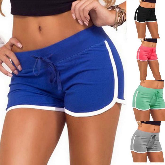 Summer Women Casual Yoga Sport Elastic Short Pants Hot Sale Beach Wear High Waist Solid Shorts For Female