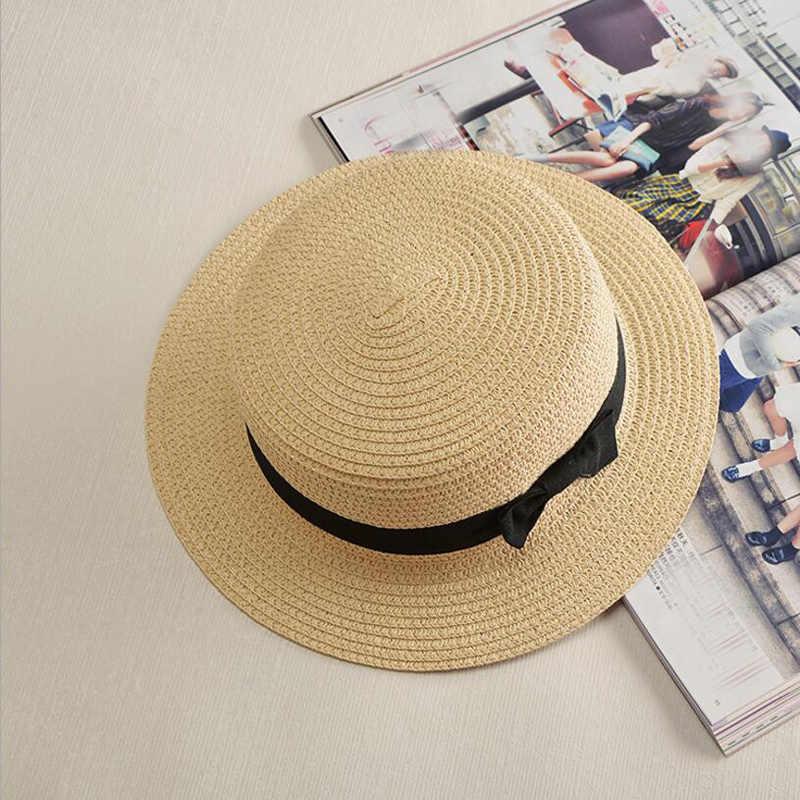 9279c66393c ... 2018 Fashion Parent-child Sun Hats Cute Kids Bow Women Straw Hat Beach  Panama Hat ...