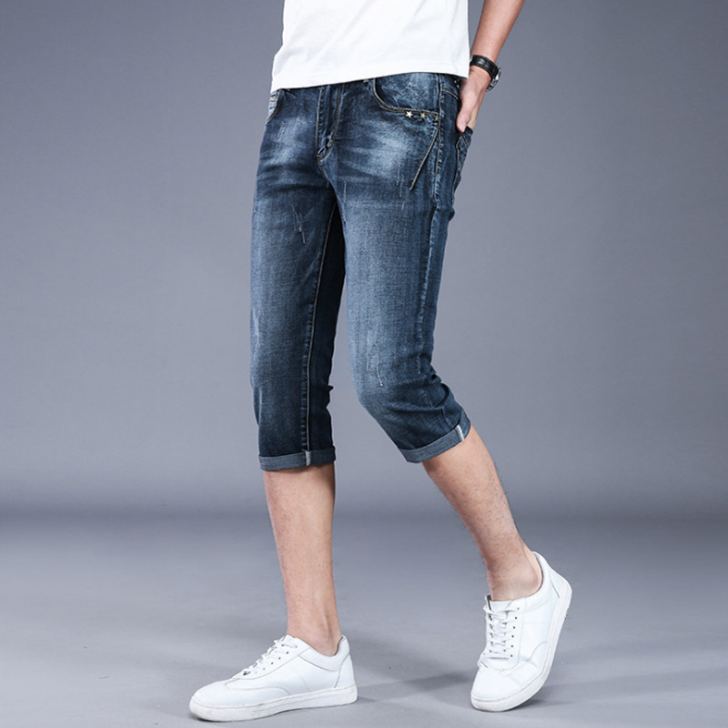 2019 Summer New Men's Stretch Short Masculino Jeans Fashion Casual Slim Fit Bermuda Homme Cotton Denim Shorts Male Brand Clothes