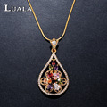 LUALA Hot Sale Romantic Women Jewelry Water Drop Colorful CZ Pendant&Necklaces   Gold Plated Chian Necklace For Women N0001