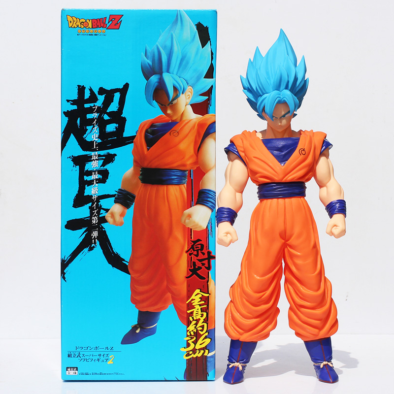 2015 Anime Cartoon Dragon Ball Z Super Saiyan Son Goku PVC Action Figure Toy Collectable Model Doll 42cm Retail Free Shipping anime figure 32cm dragon ball z super saiyan son goku lunar new year color limited ver pvc action figure collectible model toy
