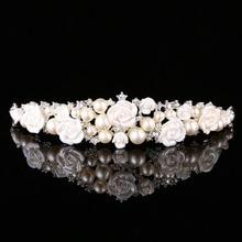 FORSEVEN, Tiaras de novia de cristal de perla y tocado de corona, joyería para el cabello, diadema de flores de cerámica, accesorios para el cabello de boda JL