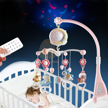 Baby Rattles Crib Mobiles Toy Holder Rotating Crib Mobile Bed Musical Box Projection 0-12 Months Newborn Infant Baby Boy Toys 1
