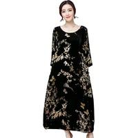 Otoño nueva manga de tres cuartos vestido de las mujeres de cuello redondo de la vendimia de terciopelo largo maxi vestidos sueltos femeninos más el tamaño floral vestidos