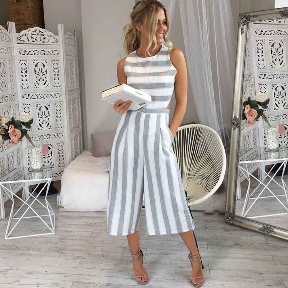 fashion whole woman summer Sleeveless Striped   Jumpsuit   Casual Wide Leg Pants Outfit combinaison femme 2018 body feminino