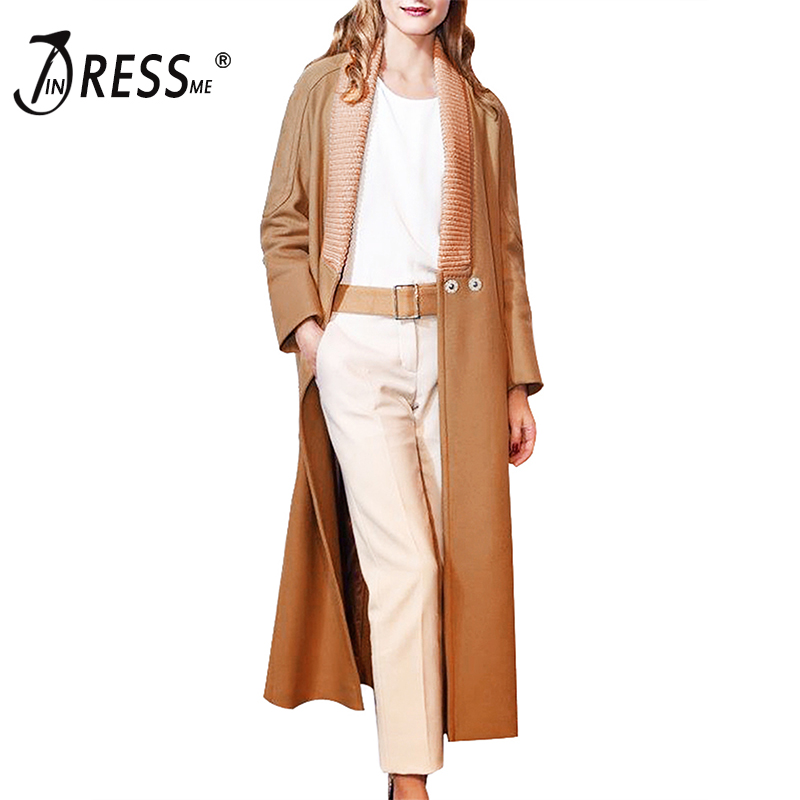 INDRESSME Casual Streetwear Full Sleeve Turtleneck Women   Trench   Fashion Packets Open Stitch Wide Waisted Women Coat Clearance