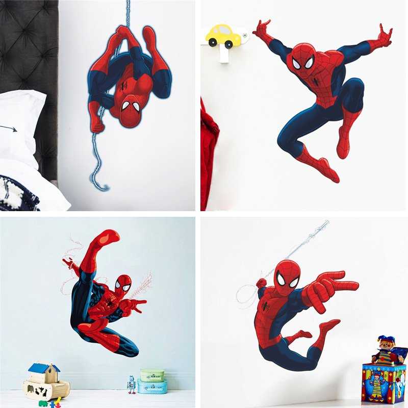 Cartoon Spiderman wall stickers for kids rooms decals home decor Kids Nursery 3D Wall sticker decoration for Boy christmas gift