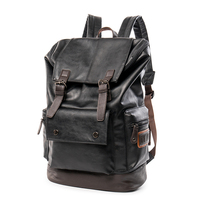 Simple Patchwork Large Capacity Mens Leather Backpack For Travel Casual Men Daypacks Leather Travle Backpack pu leather school