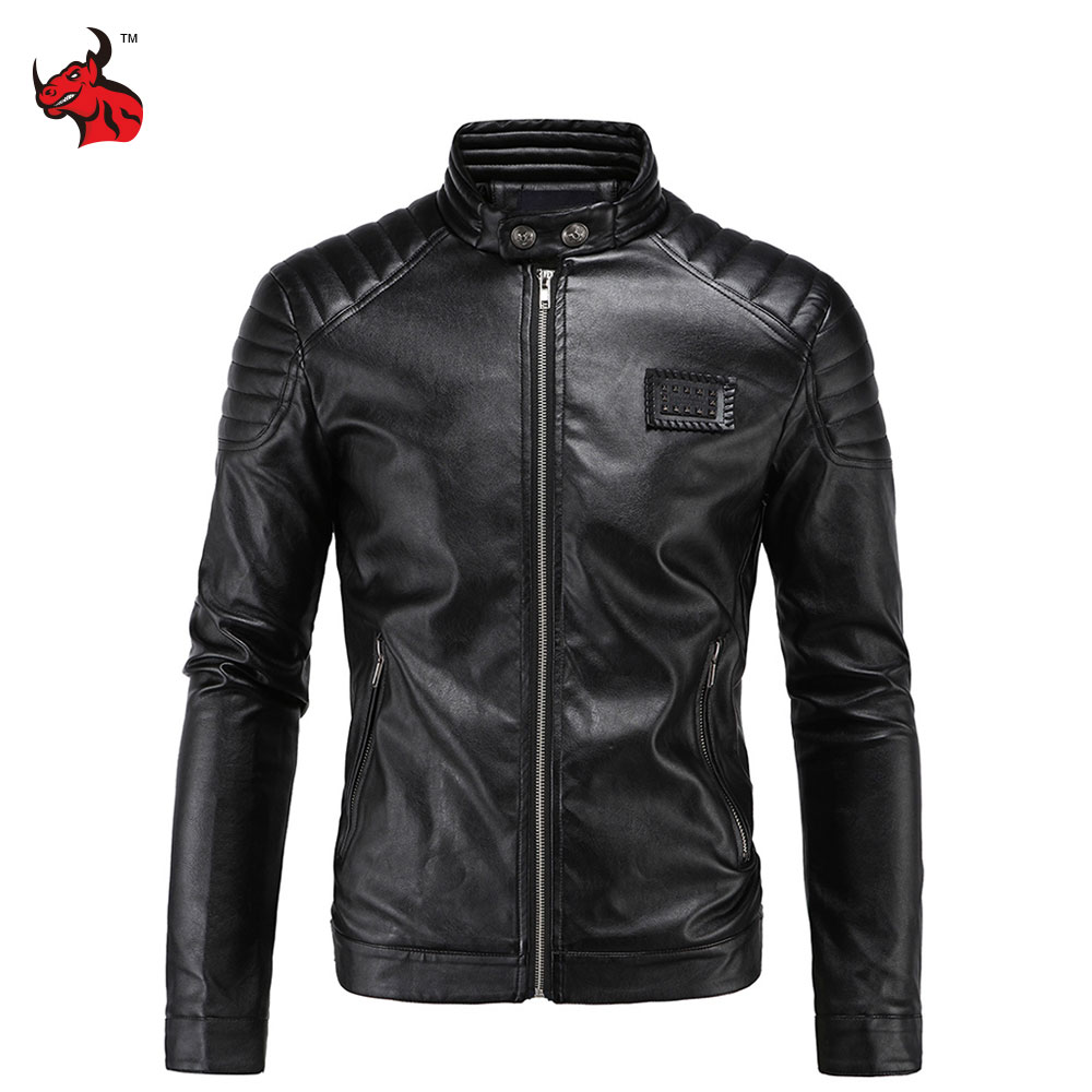 Motorcycle Jacket PU Leather Vintage Retro Moto Faux Punk Leather Jackets Slim Fit Stand Collar Motocross Clothing pu leather spliced stand collar zip up jacket