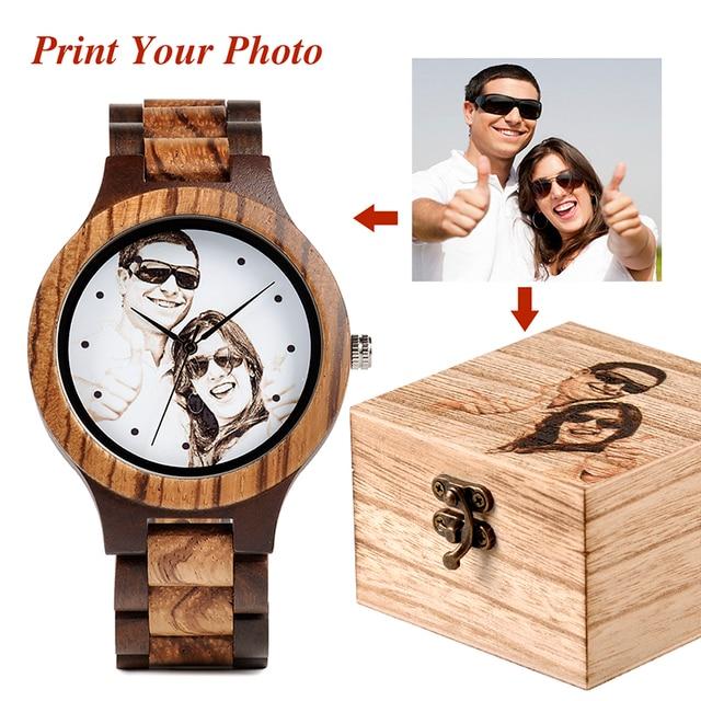לוגו מותאם אישית הדפסת תמונה משלך גברים שעון ייחודי במבוק עץ שעוני יד מתנה יצירתית לאוהבים או משפחות