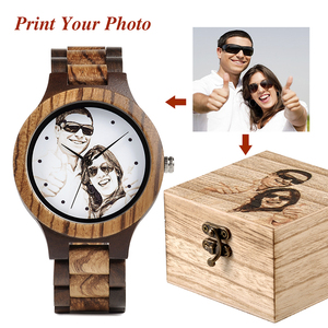 Image 1 - Custom LOGO Printing Your Own Photo Men Watch Unique Bamboo Wood Wristwatch Creative Gift For Lovers or Families