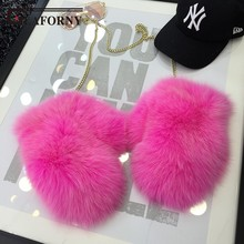 Fox Fur Gloves 2016 New Women Luxury Brand Genuine Fur Glove For Great Solid With Strap Russian Guantes Women's Winter Gloves