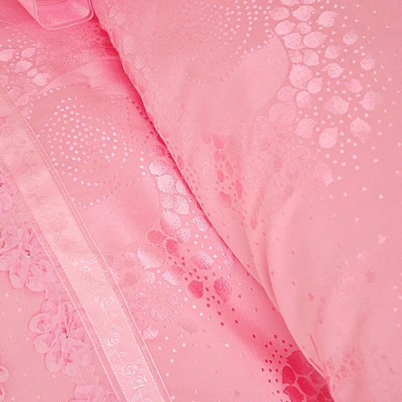 Księżniczka styl Twin królowej King size różowy krem do zestaw pościeli luksusowe łóżko okładka kołdra pokrywa falbanka na ramę łóżka zestaw prześcieradeł parure de lit w Zestawy pościeli od Dom i ogród na  Grupa 3