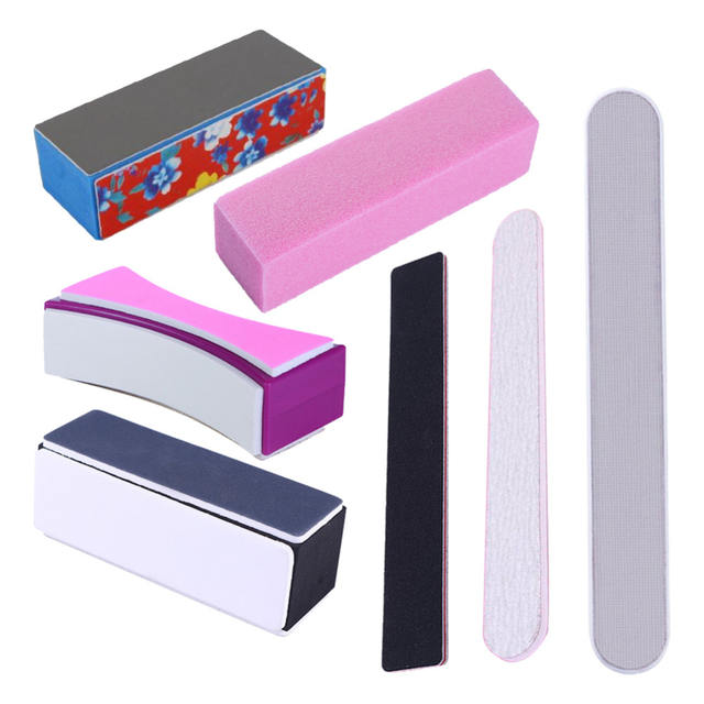 Nail Buffers Curve Straight Sanding Sponge Files Grinding Polishing Nail File Manicure Nail Art Tool