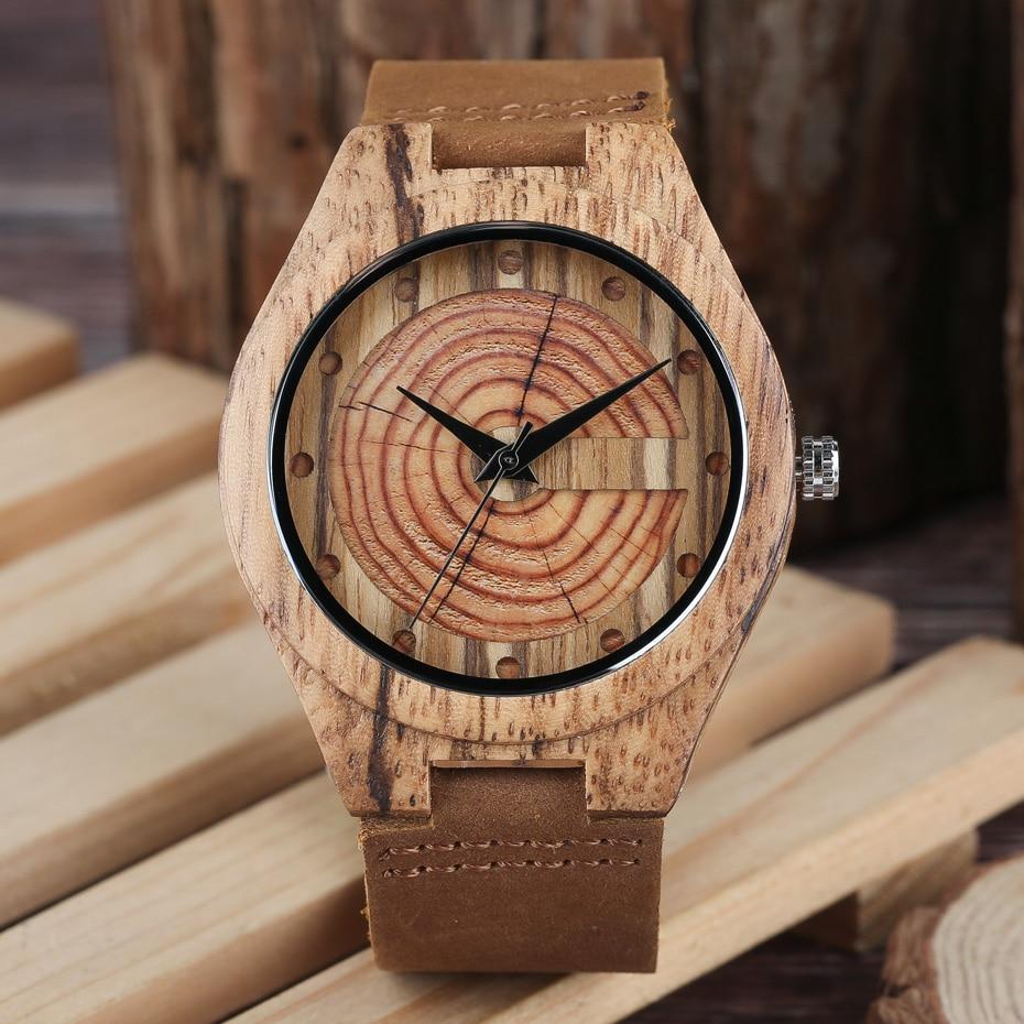 Men`s Wood Watch Handmade Annual Rings Block Points Black Hands Men Quartz Wrist Watches Brown Genuine Leather Starp Sports Hour (7)