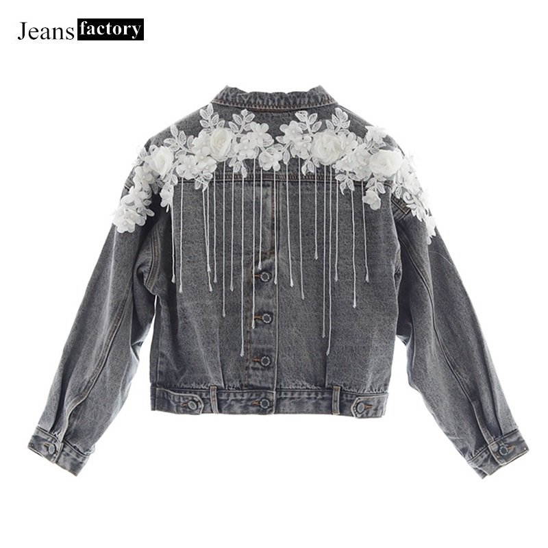 2017 women spring red frolwer floral embroidery tassels blue denim jacket coat