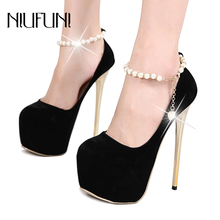 Retro Platform Pumps String Bead Chain Ankle Strap Ultra High Heels 16cm Sexy Dress Shoes Nightclub Party Wedding Pumps 2017 new fashion brand shoes luxury flower pearl high heels ankle strap women pumps string bead wedding crystal causal shoes 37