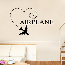 Airplane Wall Stickers Cartoon Home Decor Kids Room Decoration Removable Boys Accessories Art Mural Poster