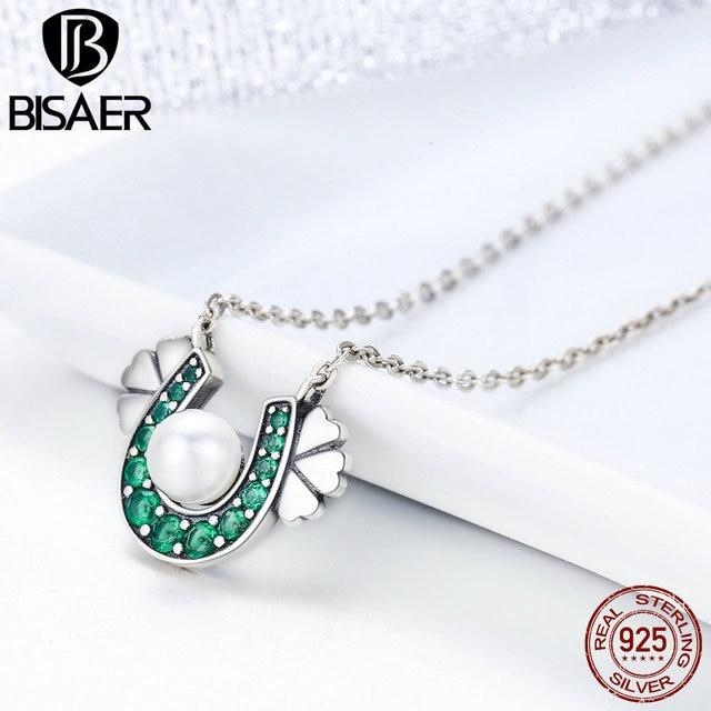 9755b788fc67c US $8.76 15% OFF|100% 925 Sterling Silver Green CZ, U Shape Little  Happiness Horseshoe Pendant Necklace Women Femme Collar Fashion Jewelry-in  Pendant ...