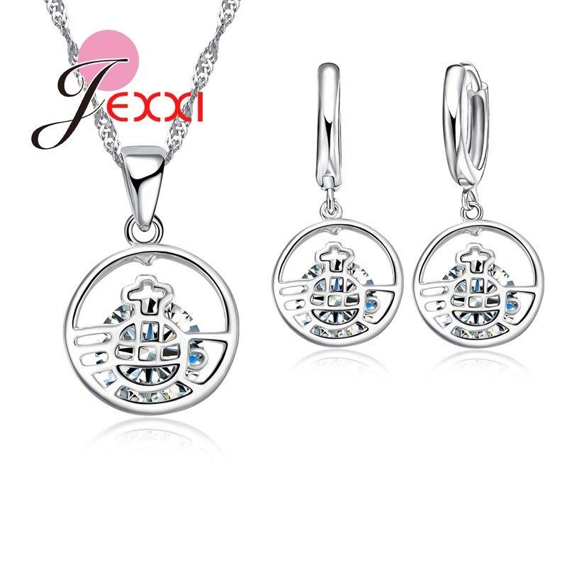 Sammlung Hier 925 Sterling Silber Kette Hohle Runde Anhänger Klar Zirkonia Stein Ball Halskette Ohrringe Sets Für Frauen Braut