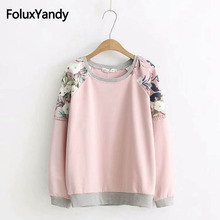 Floral Casual Hoodie Women Plus Size 3XL 4XL O-neck Long Sleeve Spring Autumn Sweatshirt KKFY2335