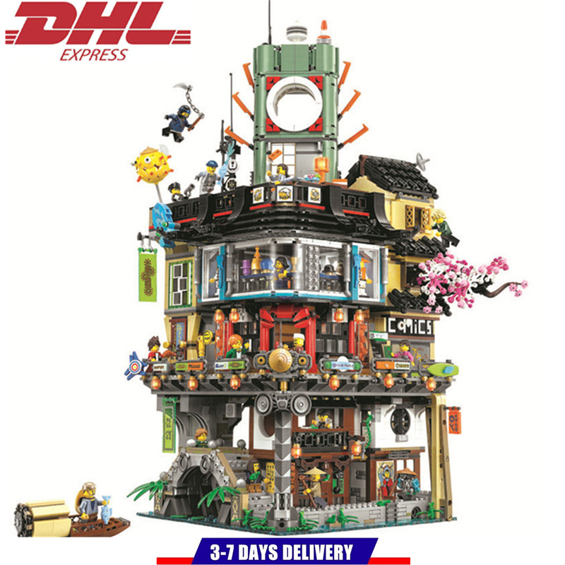 LEPIN Ninjagoed Temple City Phantom Headquarters Building Blocks Sets Bricks Kids Toys Compatible Legoings Ninja Movie city architecture mini street scene view reims cathedral police headquarters library fire departmen building blocks sets toys