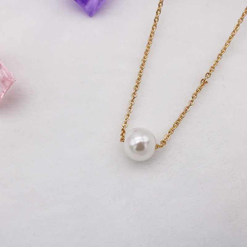 Fashion Women Imitation Pearl Pendant Necklaces for Women Sweet Round Ball Drop Gold Statement Jewelry Accessories Bijoux