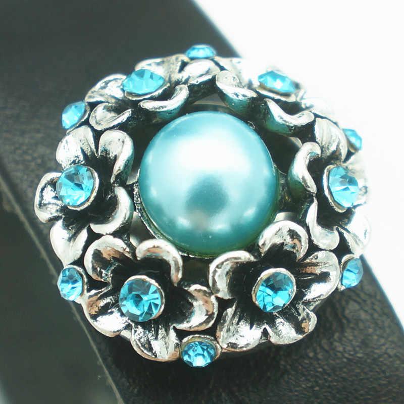 Kz1504 nova beleza animada strass azul/vermelho flores metal 20mm botões de pressão caber 18mm snap jóias atacado