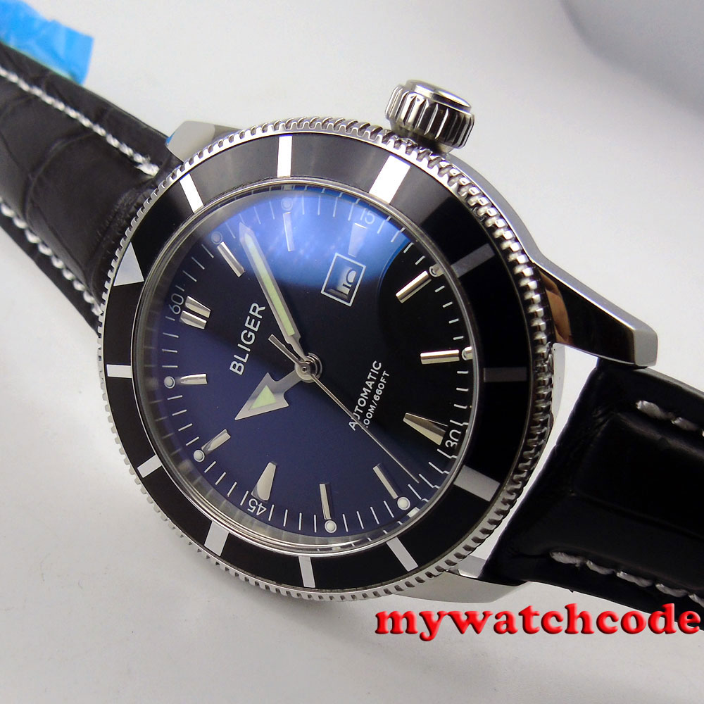 46mm bliger black dial luminous marks deployment clasp automatic mens watch B96 цена и фото