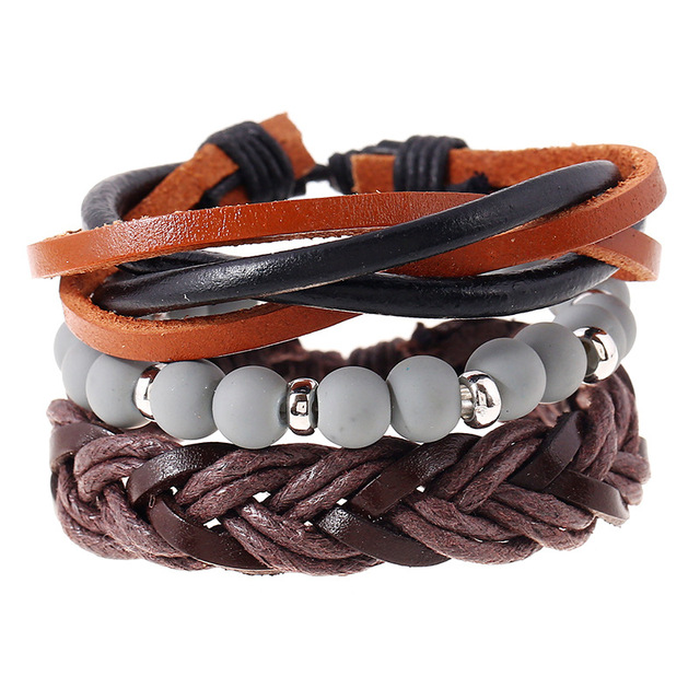 Casual Beaded Handmade Bracelet Set with Vintage Handmade Leather Bracelet and Braided Rope