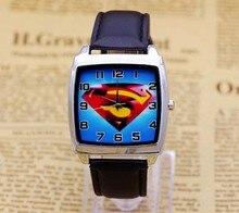 Лидер продаж Супермен Мальчики мультфильм смотреть Прекрасный девочек Часы PU ремешок кварцевые наручные часы детское платье Прямоугольный циферблат часы