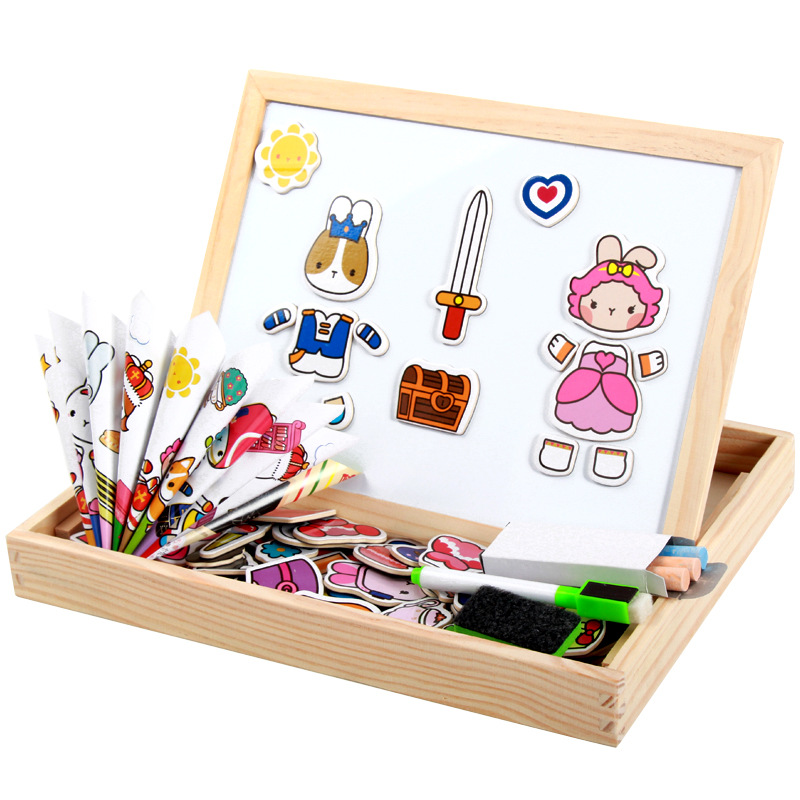 2016 Multifunctional Educational Teaching Magnetic Puzzle Toys DIY For Children Kids Jigsaw Baby's Drawing Easel Wooden Board 1