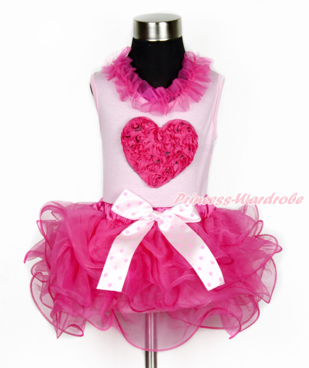Valentine Hot Pink Romantic Rose Heart Pink Top Hot Pink Petal Pettiskirt NB-8Y MAPSA0104 8x10ft valentine s day photography pink love heart shape adult portrait backdrop d 7324
