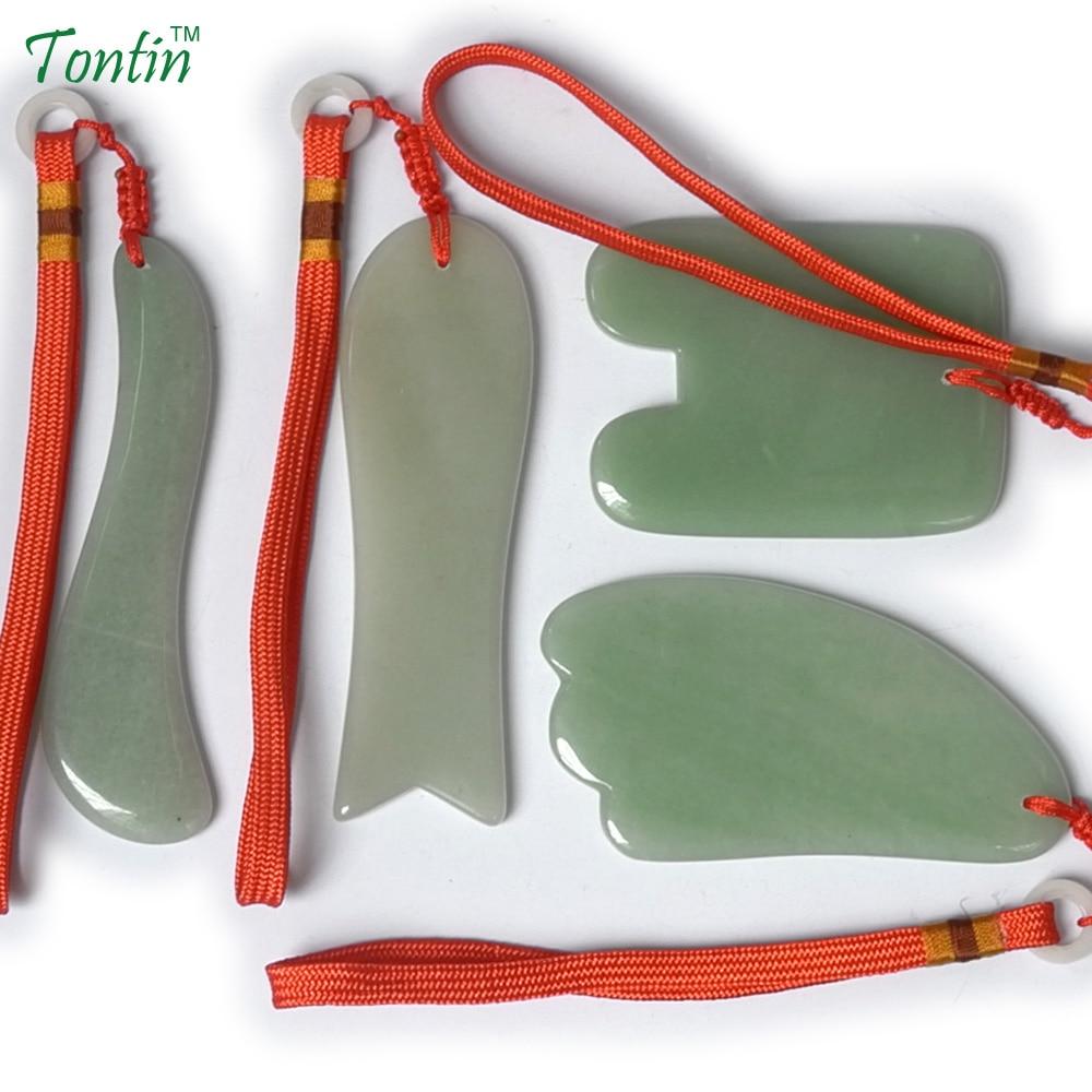 TONTIN NEW Acupuncture Massage Guasha Tool SPA Beauty kit Natural Aventurine 4 pcs/set (1pcs fish 1pcs S 1pcs U 1pcs triangle) россия платье s 4 spa