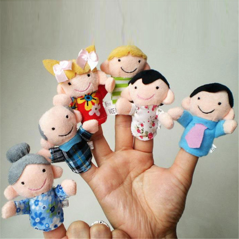 Baby kids toys Cute Family Finger Puppets Cloth Doll Baby Educational Hand Toy cotton plush free