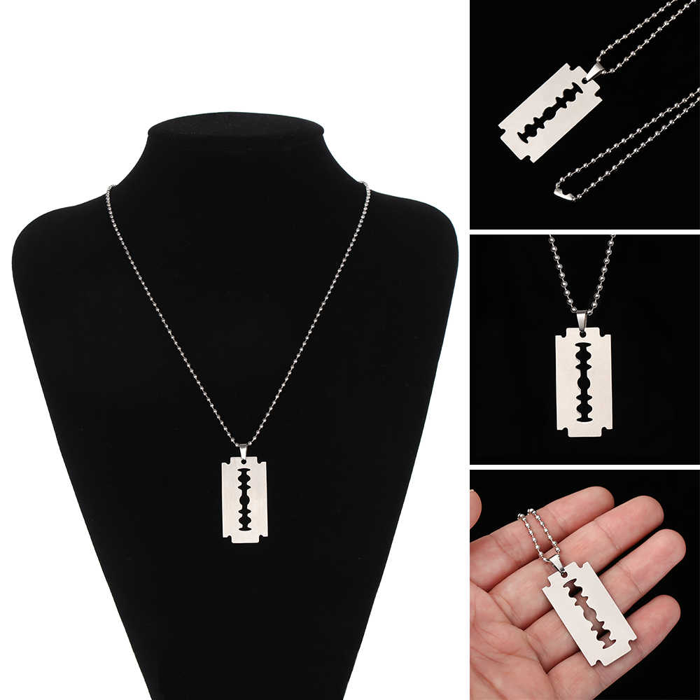 1PC Fashion Unique Street Hip Hop Punk Necklace Unisex Stainless Steel Necklace Alloy Pendant Razor Blade Shaped Necklace